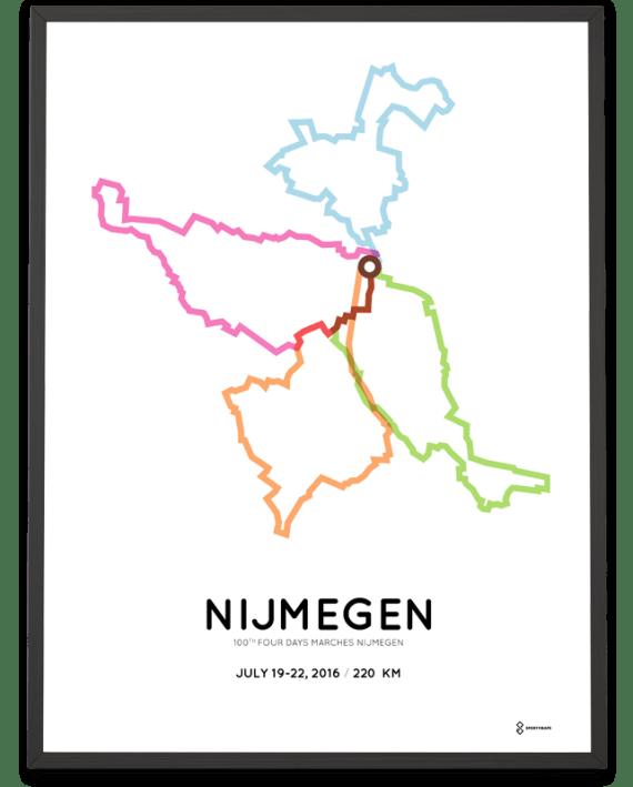2016 Four Days marches Nijmegen Vierdaagse 220km parcours poster