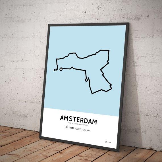 2017 Amsterdam half marathon course print