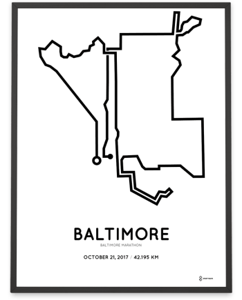 2017 Baltimore marathon course print