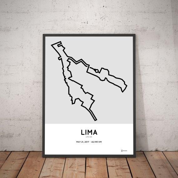 2017 Lima marathon course print map