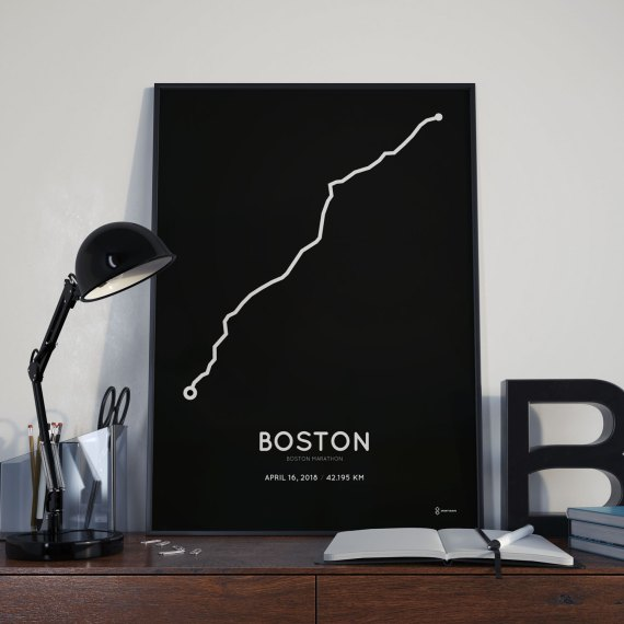 2018 Boston marathon route poster