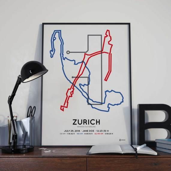 2018 Ironman Zurich strecke map poster