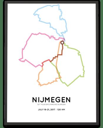 2017 Nijmegen Vierdaagse 120km parcours print