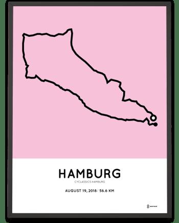 2018 cyclassics hamburg 60km strecke poster