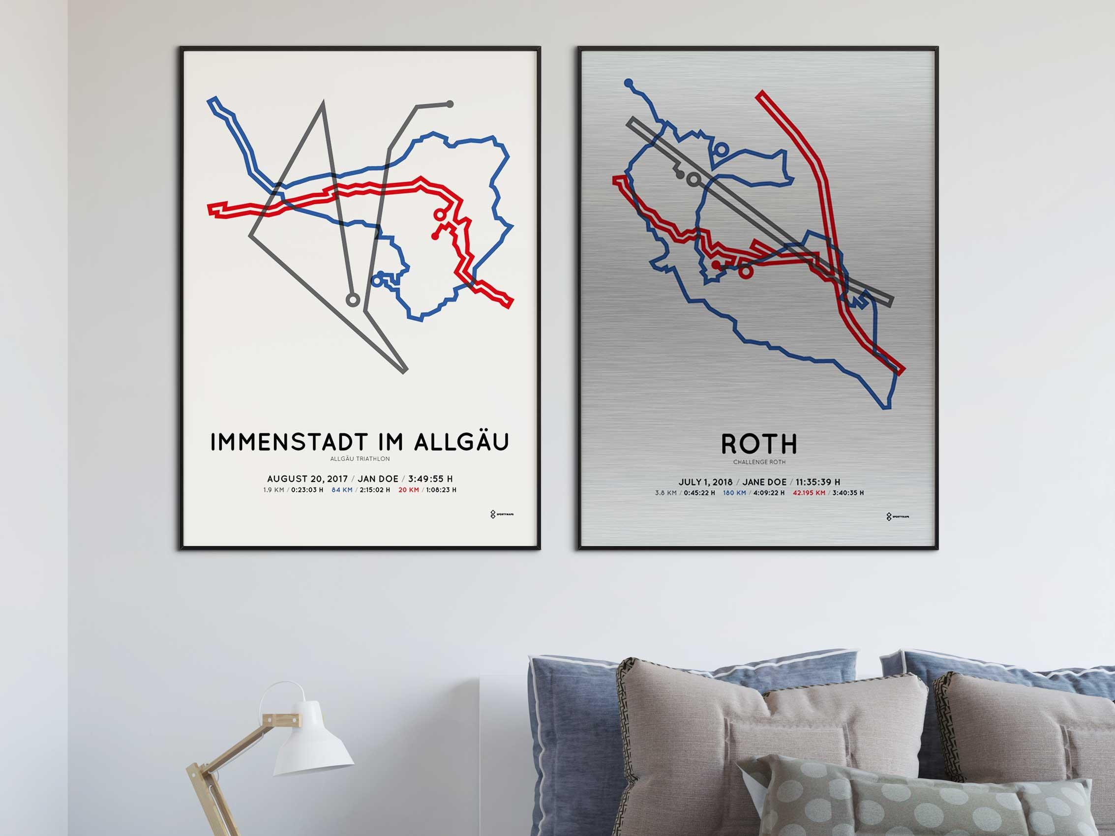 Sportymaps ironman triathlon course posters
