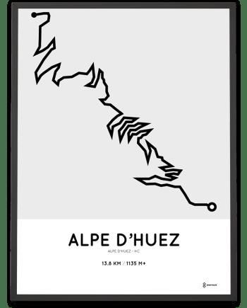 alpe dhuez climbing course poster