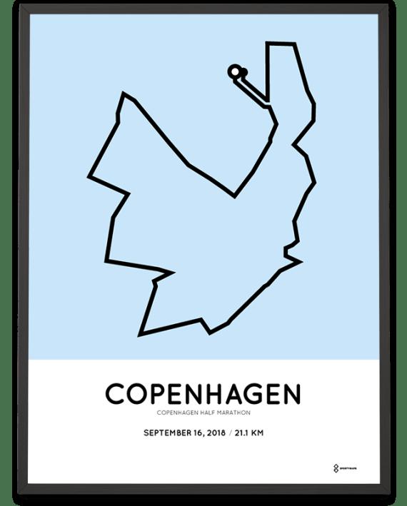 2018 Copenhagen half marathon course poster
