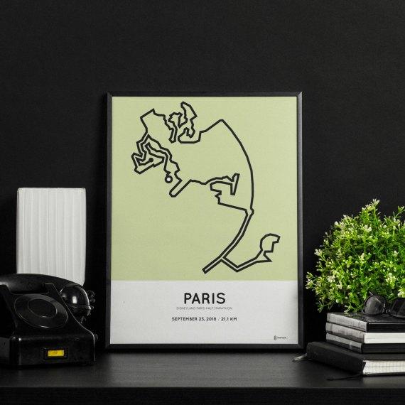 2018 Disneyland Paris half marathon route poster