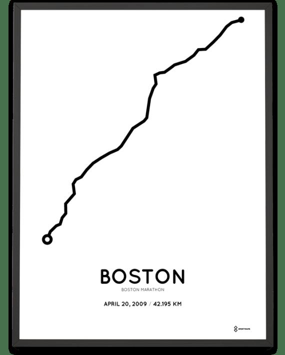 2009 Boston marathon coursemap print