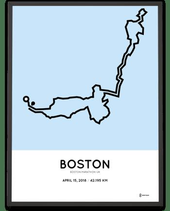 2018 Boston marathon UK route map poster