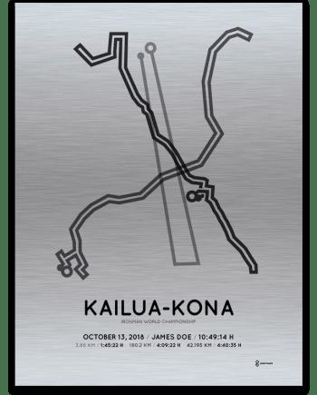 2018 Ironman Kona aluminum route map print sportymaps