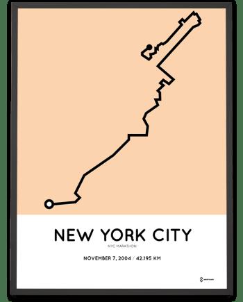 2004 NYC marathon route map poster sportymaps