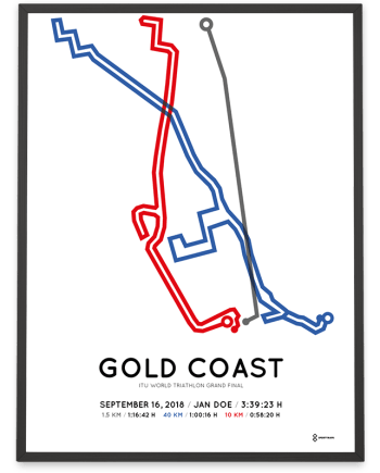 2018 Gold Coast world triathlon standard distance course poster