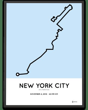 2018 NYC marathon course sportymaps poster