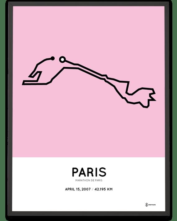 2007 Paris Marathon course sportymaps poster