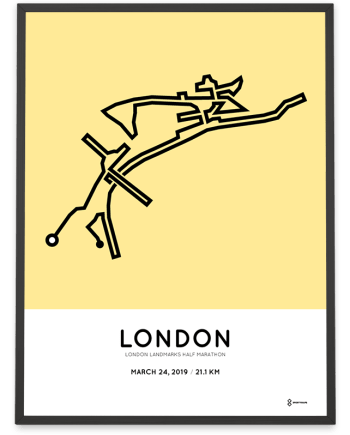 2019 London Landmarks half marathon course print