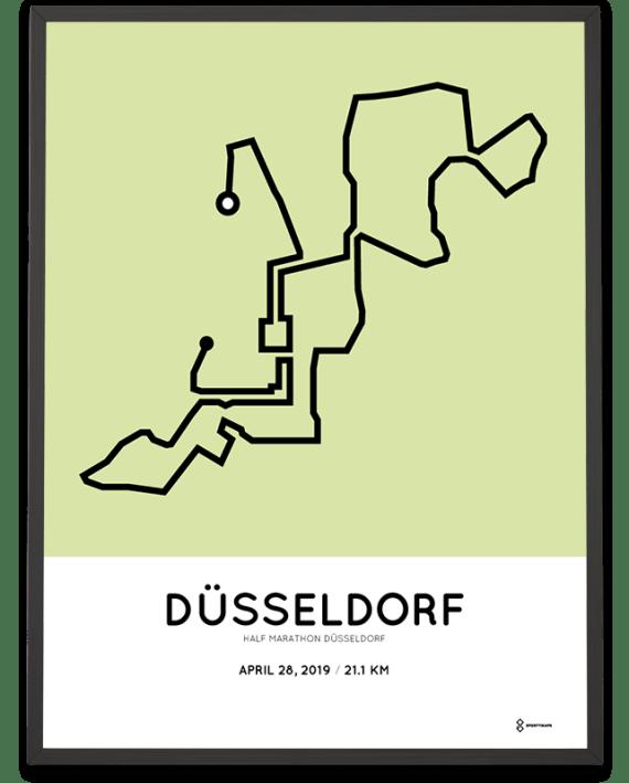 2019 Dusseldorf half marathon sportymaps course poster
