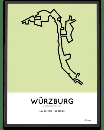 2019 Würzburg marathon course print