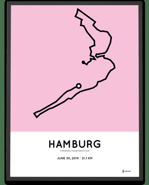 2019 Hamburg halbmarathon strecke poster