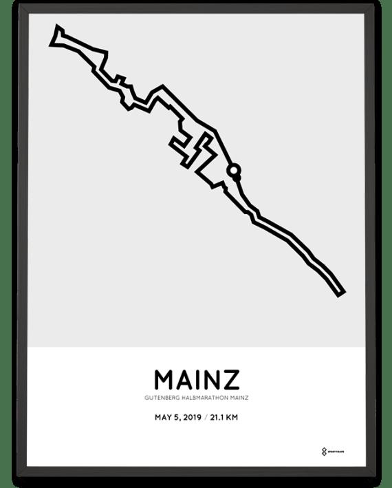 2019 Gutenberg Mainz halbmarathon strecke print