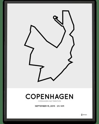 2019 Copenhagen half marathon course poster