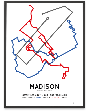2019 Ironman Wisconsin coursemap poster