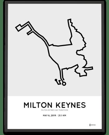 2019 Milton Keynes half marathon course poster