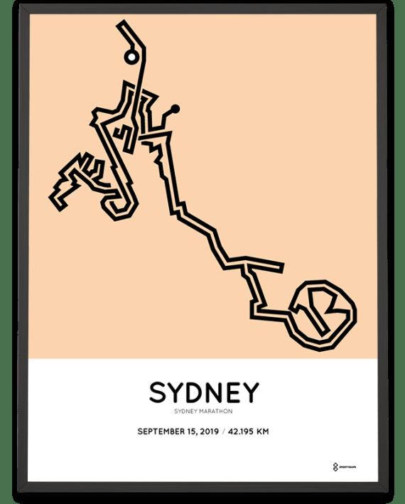 2019 Sydney marathon coursemap poster