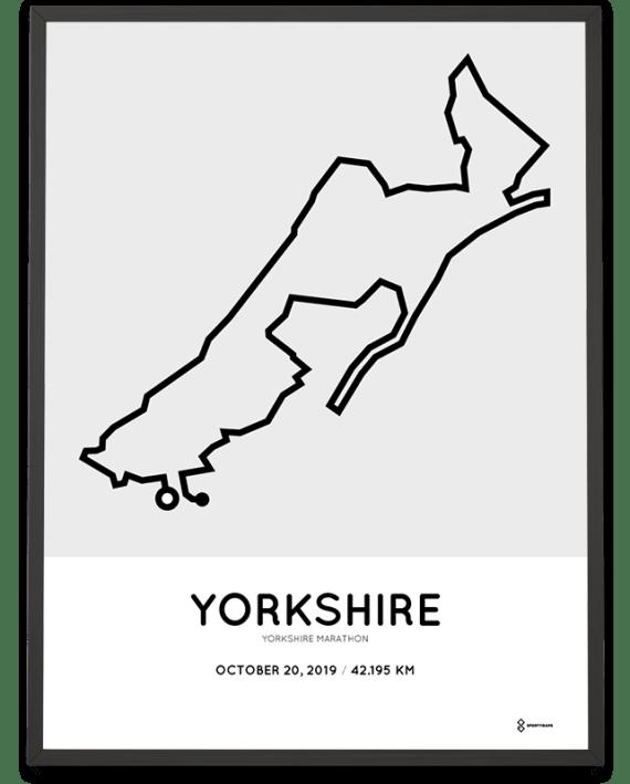 2019 Yorkshire marathon map course poster