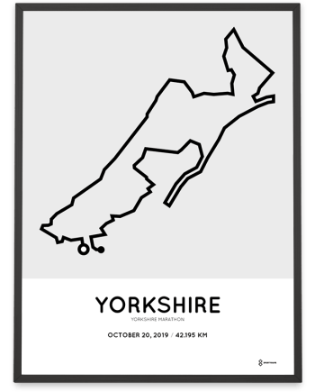 2019 Yorkshire marathon map course poster