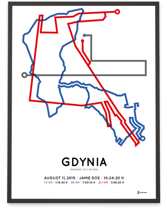 2019 Ironman 70.3 Gdynia routemap poster