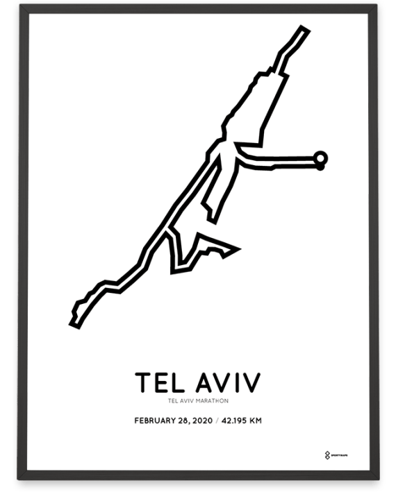 2020 Tel Aviv marathon routemap print