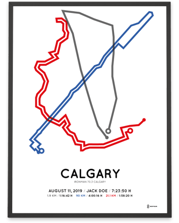 2019 Ironman 70.3 Calgary routemap print