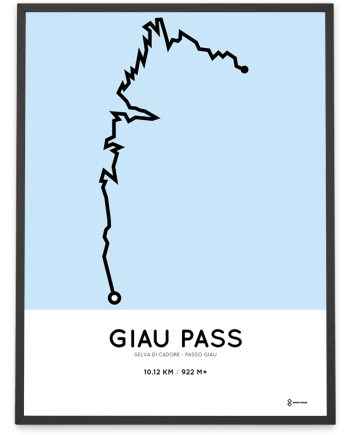 Giau Pass climb from Selva di Cadore routemap poster