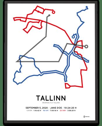 2020 Ironman 70.3 Tallinn routemap poster