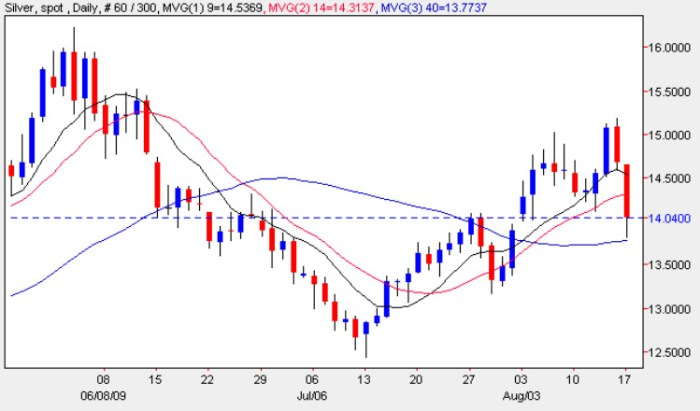 Trading Silver Chart 18 August 2009