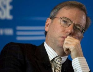 Eric Schmidt, chairman and chief executive of Google Inc., speaks at an event held by Syracuse University in San Francisco