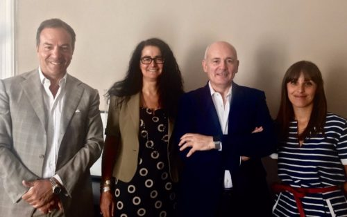 (da sinistra) Massimo Tocchetti, Presidente AIGO; Alessandra Bitetti, Director of Operations, AIGO; John Alborante, Sales & Marketing Ryanair Italia; Alessandra Rischio, PR Account Executive, AIGO