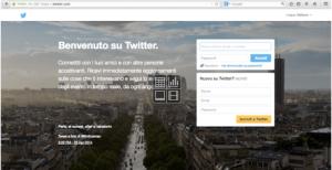 La dash di accesso a Twitter
