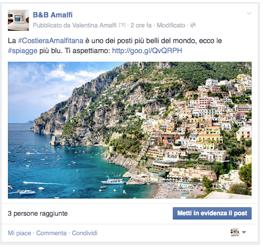 Post per il B&B Amalfi con immagine allegata