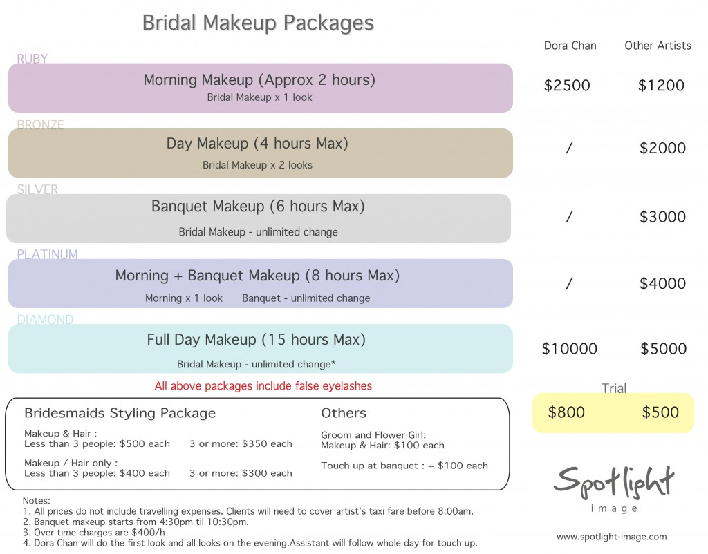 2016 - Spotlight Image Bridal Pricelist - Make-up Only