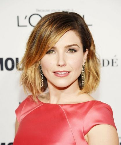 Long Bob Hairstyle With Side Part And Waves