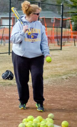 Bethlehem softball coach Karen Gentile starts infield practice Wednesday, March 16. Rob Jonas/Spotlight