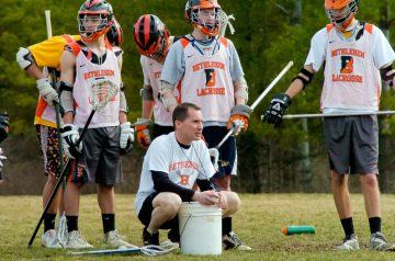 Bethlehem boys lacrosse coach Dave Rounds instructs his players during a practice Wednesday, March 16. Rob Jonas/Spotlight