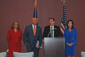 (L-R) NYOASAS Commissioner Arlene Gonzalez-Sanchez; Congressman Paul Tonko; ONDCP Director Michael Botticelli; Lt. Gov. Kathy Hochul