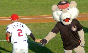 Tri-City shortstop Alex De Goti taps Southpaw's hand during pre-game introductions. Rob Jonas/Spotlight