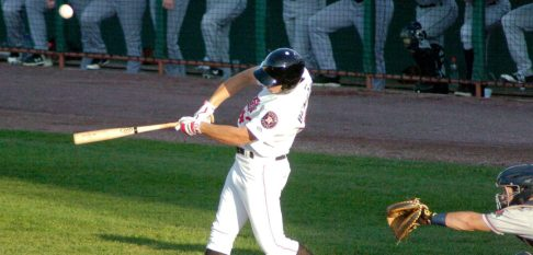 Tri-City designated hitter Carmen Benedetti slices a foul ball in the first inning. Rob Jonas/Spotlight