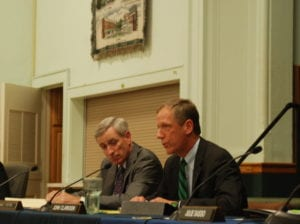 Town Attorney James Potter and Town Supervisor John Clarkson responding to residents at the 8/24 town board meeting