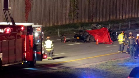At least one motorist was killed in a three-car accident on Alternate Route 7 in Latham, Tuesday, Oct. 11. (Photo by Thomas Heffernan, Sr.)