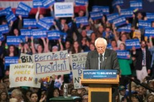 Bernie Sanders at the Washington Avenue Armory (photo by Jim Franco/spotlightnews.com)